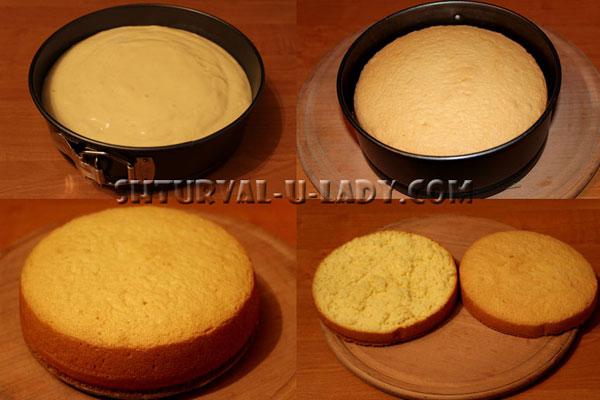 Процесс выпечки бисквита и разделение на два коржа