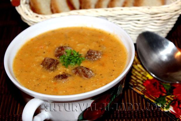Чечевичный суп-пюре с мясом