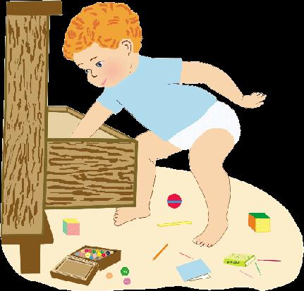 Любопытный ребенок выдвинул ящик шкафа
