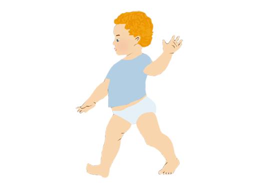 Годовалый ребенок учится ходить
