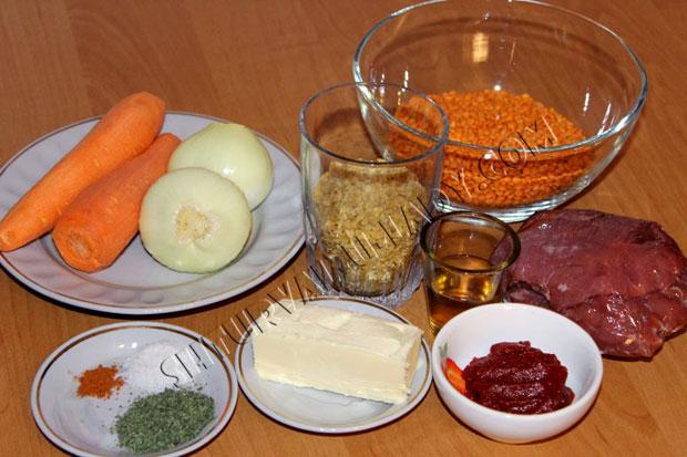 Ингредиенты для чечевичного супа-пюре