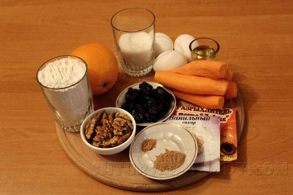 Продукты для приготовления кексов из моркови