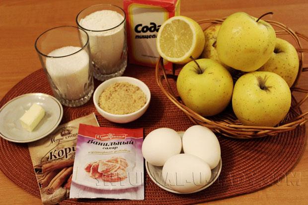 Набор ингредиентов для яблочной шарлотки