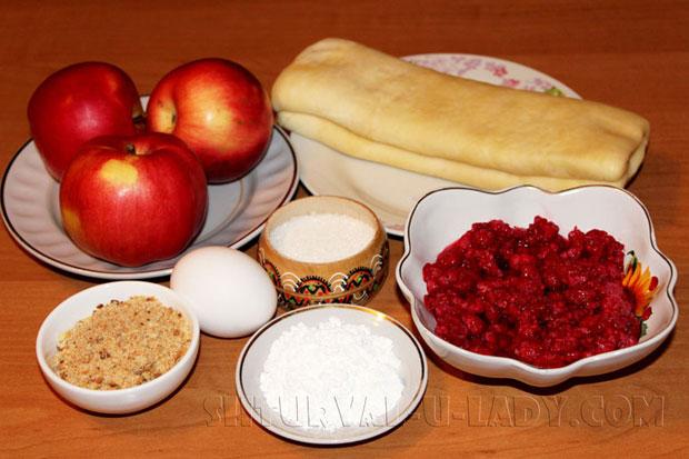Набор продуктов для приготовления слоек с начинкой