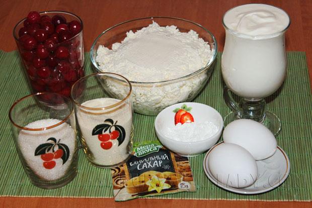 Набор продуктов для манника с творогом и вишней