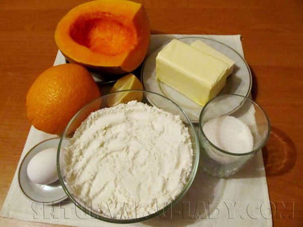 Ингредиенты для пирога с тыквенной начинкой