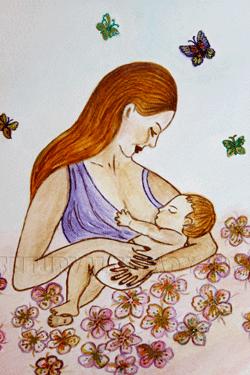 Мать и дитя: грудное кормление ребенка