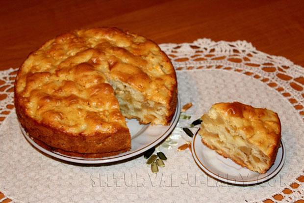Пирог яблочная шарлотка в разрезе