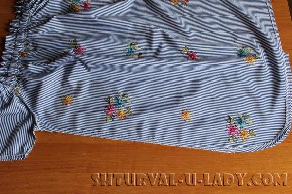Стачивание боковых швов платья-рубашки