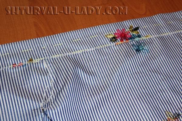Подшивка верха платья-рубашки
