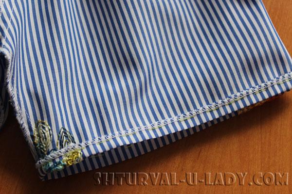 Подшивка рукавов платья