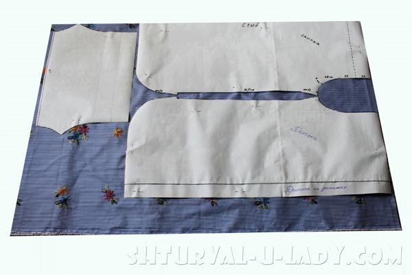 Выкройка платья-рубашки на ткани