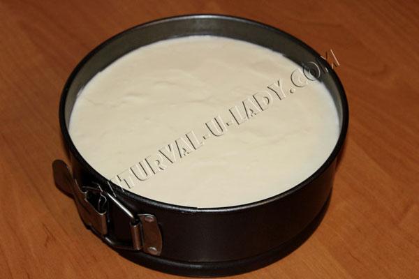 Заполнение формы чизкейком птичье молоко без выпечки
