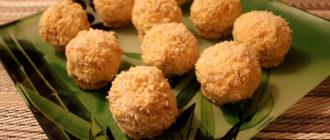 Шарики с сыром, мандарином в кокосовой стружке