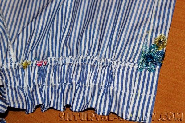 Подгибка и прошивка планки-застежки