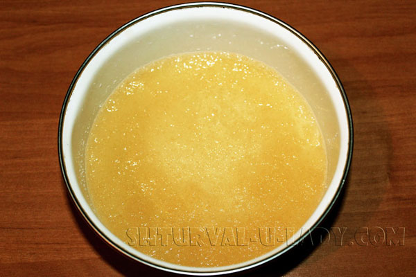 Набухание желатина, залитого водой