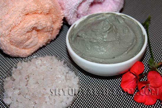 Природная глина голубая, розовая соль для Спа