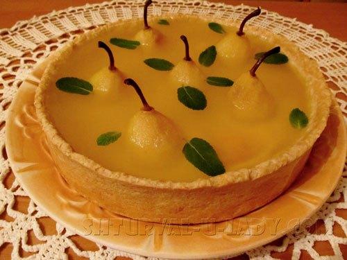 Песочный пирог с грушами в желе