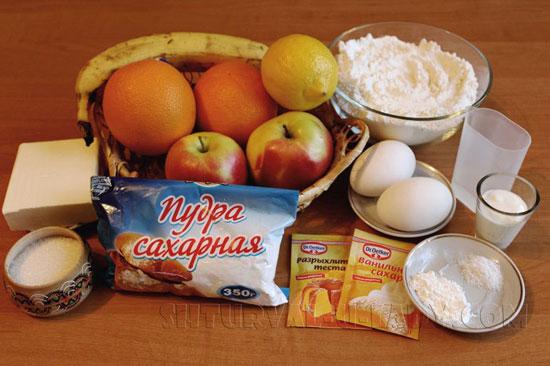 Продукты для приготовления тарталетки с начинкой, безе
