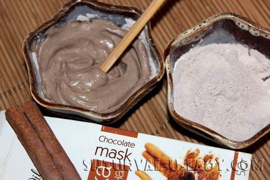Маска из каолиновой глины с добавкой корицы, какао-порошка