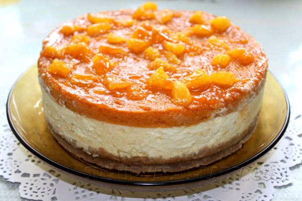 Аппетитный чизкейк с тыквой, абрикосом, апельсиновой заливкой