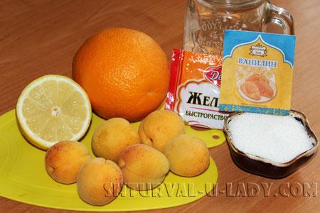 Апельсин, лимон, абрикосы, сахар, желатин, ванилин