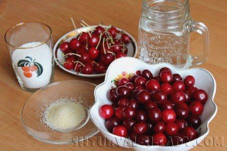 Вишни, сахар, быстрорастворимый желатин, вода