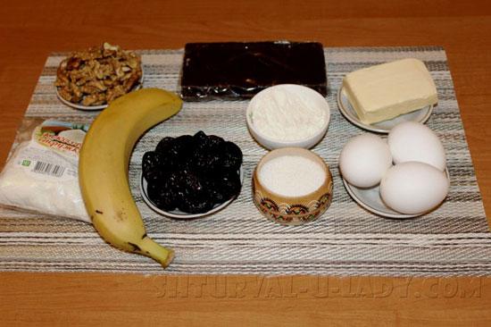 Продукты для приготовления шоколадного брауни с начинкой