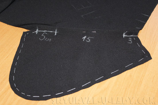 Прошивка бокового кармана брюк