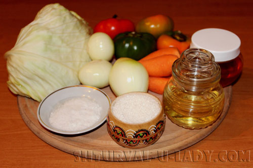 Ингредиенты для капустного салата в маринаде