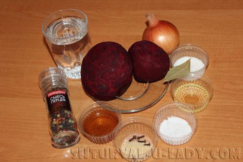 Набор ингредиентов для свекольного салата