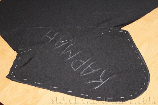 Сшивание деталей бокового кармана