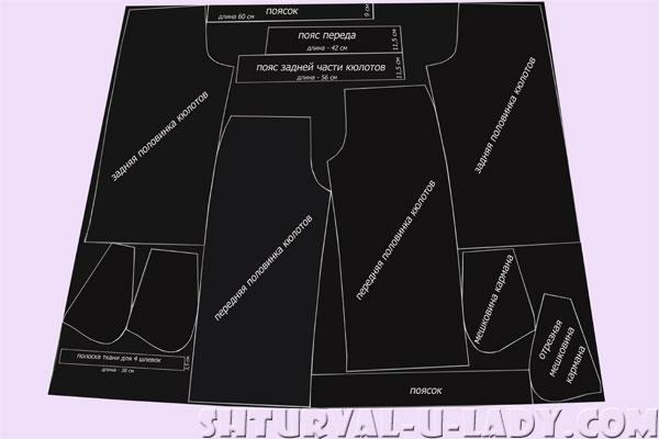 Разметка на ткани деталей брюк-кюлотов