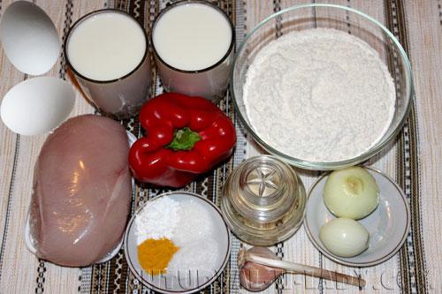 Ингредиенты для куриного заливного пирога