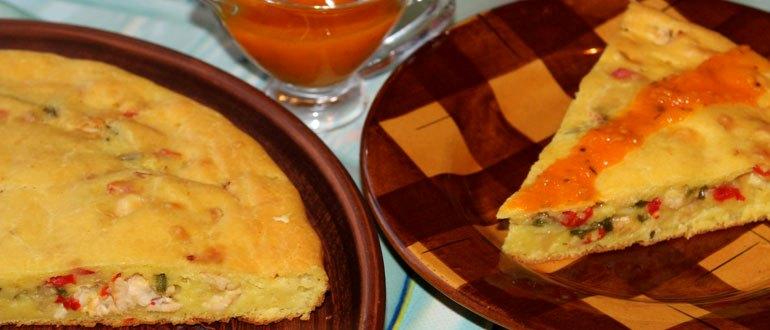 Заливной рирог: тесто на кефире, куриная начинка