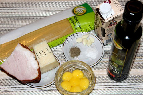 Продукты для пасты Карбонара