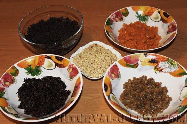 Измельченные для начинки: изюм, чернослив, орехи, курага, мак