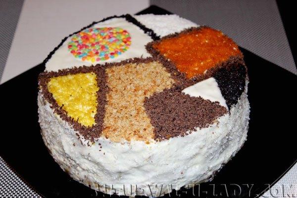 Оформление торта Лабиринт в стиле пэчворк