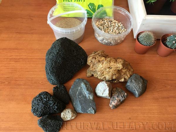 Природные материалы для мини-сада из суккулентов