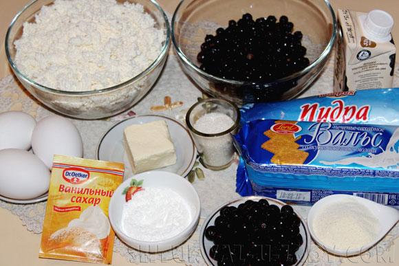 Набор ингредиентов для черносмородиного чизкейка