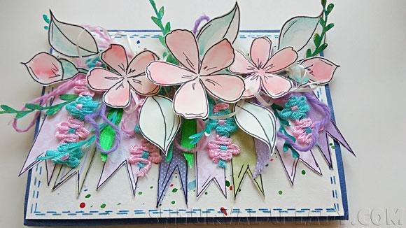 Открытка скрапбукинг цветы