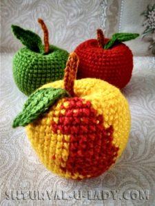 Разноцветные яблочки амигуруми