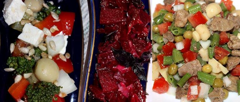 Вкусные полезные салаты трех видов