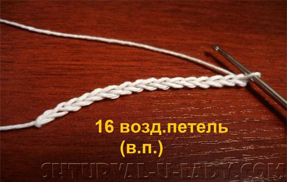 Цепочка воздушных петель для начала вязания крючком