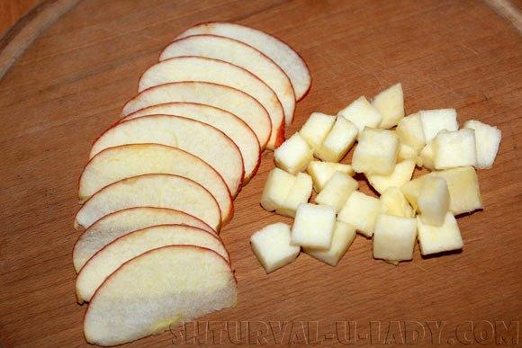 Нарезка яблока для салата