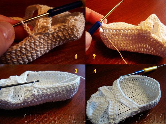 Поэтапное вязание летних пинеток для маленькой девочки