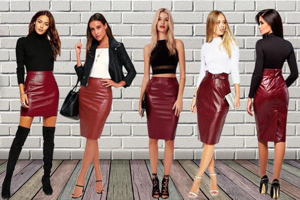 Образы с бордовыми кожаными юбками
