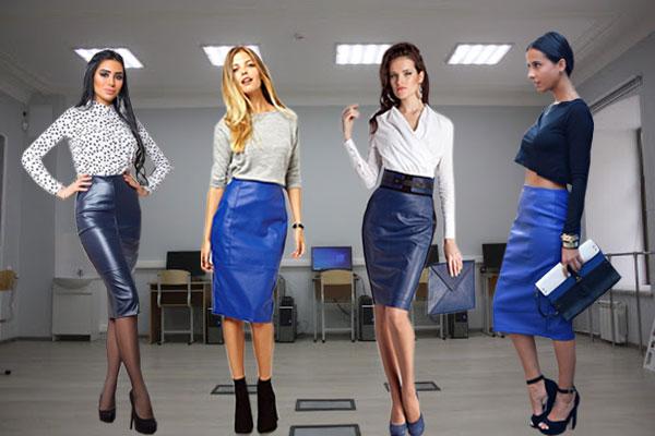 Синие кожаные юбки карандаш