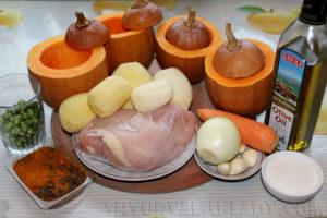 Продукты для блюда жаркое в тыкве