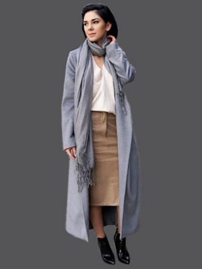 Объемное пальто с кожаной юбкой
